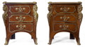 Furniture : French, A PAIR OF FRENCH KINGWOOD AND MAHOGANY BEDSIDE CABINETS WITH GILTBRONZE MOUNTS. Circa 1900. 31 x 23-1/2 x 18 inches (78.7 x...(Total: 2 Items)