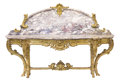 Furniture , A FRENCH GILT WOOD AND MARBLE PIER TABLE WITH GILT BRONZE MOUNTS . Unknown maker, probably Paris, France, circa 1840. Unmark... (Total: 6 Items)
