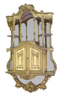 Furniture , A FIN-DE-SIÈCLE GILT WOOD, MIRROR BACKED WALL MOUNTED DISPLAY CABINET . Unknown maker, possibly Paris, France, circa 1900. U...