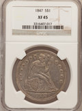 Seated Dollars: , 1847 $1 XF45 NGC. NGC Census: (45/259). PCGS Population (92/283).Mintage: 140,750. Numismedia Wsl. Price for problem free ...