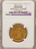 Liberty Eagles: , 1851-O $10 --Improperly Cleaned--NGC Details. AU. NGC Census:(102/447). PCGS Population (67/98). Mintage: 263,000. Numismed...