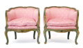 Furniture , A PAIR OF ITALIAN PAINTED AND GILT UPHOLSTERED CHAIRS . Probably Venice, Italy, circa 1920. Unmarked. 27-1/4 x 26-1/4 x 26-1... (Total: 2 Items)