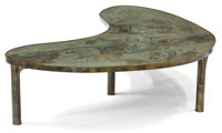 A PHILIP AND KELVIN LAVERNE KIDNEY SHAPE BRONZE AND ENAMELED METAL CHAN COFFEE TABLE