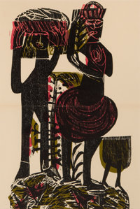 HELMUT A.P. GRIESHABER (GERMAN, 1909-1918) SET OF FOUR FRAMED WOODBLOCK PRINTS FROM THE LORD'S BLACK NIGHTINGALE