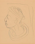 Fine Art - Work on Paper:Drawing, A DIEGO GIACOMETTI DRAWING OF A MAN IN PROFILE . Diego Giacometti (Swiss, 1902-1985), Paris, France, circa 1979. Inscribed t...