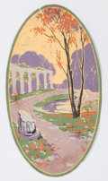 Decorative Arts, French:Other , P. BAESCHLIN FRENCH HAND PAINTED GOUACHE WALLPAPER DESIGN . Circa1910. 18 x 10 inches (45.7 x 25.4 cm). ...