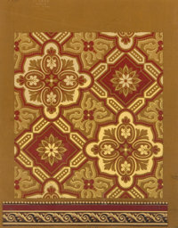DODÉ FRENCH HAND PAINTED GOUACHE WALLPAPER DESIGN WITH BORDER Circa 1903 Marks embossed: LS. DODÉ DESSINS...