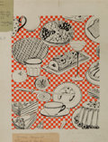 Decorative Arts, French:Other , A MARTIN GIRARD HAND PAINTED GOUACHE WALLPAPER DESIGN . MartinGirard, France, circa 1956. Label: 929T, 56-57, MartinGira...