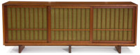A GEORGE NAKASHIMA CHERRY CREDENZA WITH BURLAP CLOTH LINED DOORS George Nakashima (American, 1905-1990), New Hope