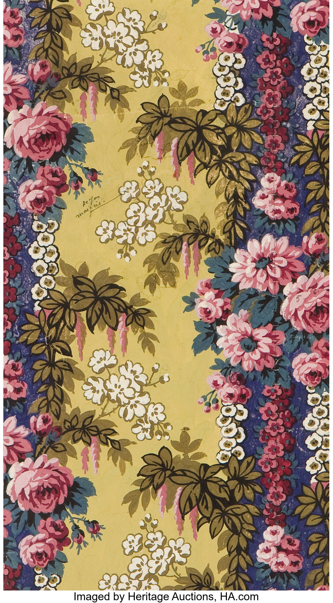 French Art Deco Hand Painted Gouache Wallpaper Design In The