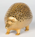 Silver Smalls:Other , VICTORIAN SILVER GILT HEDGEHOG-FORM PIN CUSHION . London, circa1900. 5 x 2-1/2 x 2-1/4 inches (12.7 x 6.4 x 5.7 cm). ...
