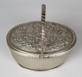 Silver Holloware, Continental:Holloware, EXPORT SILVER PICNIC BASKET-FORM TRAVELING DESK SET . Circa 1880.Raised handle: 5-1/2 x 4-5/8 x 3-3/8 inches (14.0 x 11.7 x...