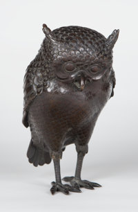 A JAPANESE PATINATED BRONZE OWL-FORM BOTTLE AND STOPPER Unknown maker, Japan, circa 1920 Unmarked 7-3/4 x 7
