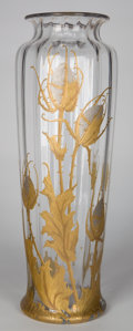 Art Glass:Galle, FRENCH ART GLASS VASE WITH GILT AND SILVERED THISTLE DESIGN . Circa 1900. 19-1/2 inches high (49.5 cm). ...