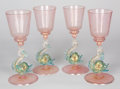Decorative Arts, Continental:Other , A SET OF FOUR ITALIAN MURANO PINK, BLUE AND GOLD GLASS GOBLETS WITHDOLPHIN-FORM STEM . Unknown maker, Murano, Italy, early ... (Total:4 Items)