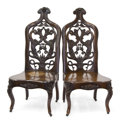 Furniture , A PAIR OF AMERICAN ROCOCO REVIVAL LAMINATED ROSEWOOD CHAIRS . Unknown maker, New York, New York or Philadelphia, Pennsylvani... (Total: 2 Items)