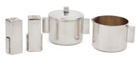A MERLE FABER SILVER-PLATED AND GILT METAL COVERED SUGAR BOWL, CREAMER, SALT AND PEPPER SHAKER Merle Faber, San F