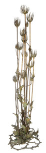 Lighting:Lamps, A FRENCH ART NOUVEAU COLD PAINTED BRONZE THISTLE-FORM TEN-LIGHT FLOOR LAMP . In the manner of Maurice Bouval, Paris, France,...