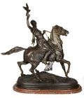 Bronze:European, A FRENCH PATINATED BRONZE FIGURAL GROUP AFTER PIERRE-JULES MÊNE:FAUCONNIER ARABE À CHEVAL . After Pierre-Jules...