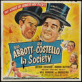 """Movie Posters:Comedy, Abbott and Costello in Society (Universal, 1944). Six Sheet (79"""" X 79""""). Comedy.. ..."""