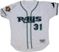 Baseball Collectibles:Uniforms, Early 2000's Josh Hamilton Game Worn Tampa Bay Devil Rays Spring Training Jersey....