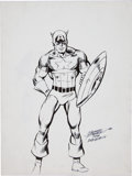 Original Comic Art:Sketches, George Perez and Joe Rubinstein Captain America Sketch Original Art (1980)....