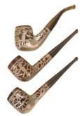 Silver Smalls:Other , A GROUP OF THREE AMERICAN SILVER OVERLAY GOLFING PIPES . Circa1920. Marks: Whitehall, SILVERSMITH, STERLING. 5-7/8 inch...(Total: 3 Items)
