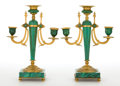 Decorative Arts, Continental:Lamps & Lighting, A PAIR OF CONTINENTAL MALACHITE AND GILT BRONZE THREE LIGHTCANDELABRA . Unknown maker, possibly Russia, circa 1900. Unmark...(Total: 2 Items)