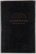 Books:First Editions, Memorial Addresses on the Life and Character of William H. F.Lee. Washington: Government Printing Office, 1892. First e...