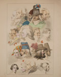 Antiques:Posters & Prints, Hjalmar Morner. Four Wonderful Lithographic Plates of FacialStudies, One Hand-Colored. [London]: 1837. Mild... (Total: 4Items)