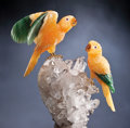 Lapidary Art:Carvings, QUEEN OF BAVARIA PARROT COUPLE ON QUARTZ . ...