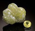 Gems:Rough & Cut, RARE GEMSTONE SET: PREHNITE ROUGH & CUT. ...