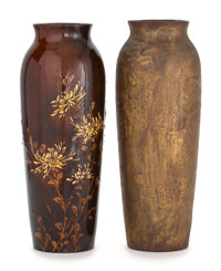 TWO ROOKWOOD ART POTTERY VASES DECORATED BY VALENTIEN Decorated by Albert Robert Valentien (American, 1862-1925)<...