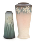 Ceramics & Porcelain, American:Modern  (1900 1949)  , TWO ROOKWOOD ART POTTERY VELLUM VASES . Decorated by Margaret HelenMcDonald and Timothy Hurley. Rookwood Pottery, Cincinnat... (Total:2 Items)