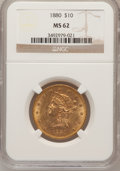 Liberty Eagles: , 1880 $10 MS62 NGC. NGC Census: (375/58). PCGS Population (232/67).Mintage: 1,644,876. Numismedia Wsl. Price for problem fr...