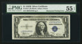 Error Notes:Obstruction Errors, Fr. 1611 $1 1935B Silver Certificate. PMG About Uncirculated 55 EPQ;. Fr. 1614 $1 1935E Silver Certificate. PMG Choice About U... (Total: 2 notes)