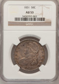 Bust Half Dollars: , 1831 50C AU53 NGC. NGC Census: (104/949). PCGS Population(111/854). Mintage: 5,873,660. Numismedia Wsl. Price for problem...