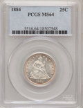 Seated Quarters, 1884 25C MS64 PCGS....