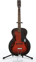 Musical Instruments:Acoustic Guitars, 1960's Harmony Monterey Red Burst Archtop Acoustic Guitar #3901H9501...