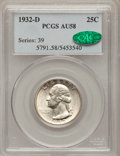 Washington Quarters: , 1932-D 25C AU58 PCGS. CAC. PCGS Population (509/1648). NGC Census:(386/885). Mintage: 436,800. Numismedia Wsl. Price for p...