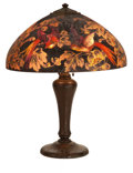 Art Glass:Other , A HANDEL TABLE LAMP WITH BIRDS OF PARADISE ACID ETCHEDREVERSE PAINTED SHADE BY PETER BROGGI . Handel Lamp Compa...(Total: 2 Items)