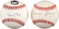Baseball Collectibles:Balls, Leon Day and Willie Mays Single Signed Baseballs Lot of 2....