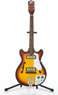 Musical Instruments:Electric Guitars, Vintage Teisco Del Rey EP-7 Sunburst Semi-Hollow Body Electric Guitar #591660....