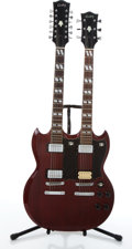 Musical Instruments:Electric Guitars, Cortez Double Neck SG Style Cherry Electric Guitar #023198....