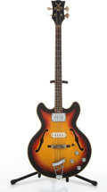 Musical Instruments:Bass Guitars, Vintage Vox Sunburst Archtop Semi-Hollow Body Electric Bass Guitar #271945....
