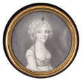 Decorative Arts, French:Other , FRENCH TORTOISESHELL AND BRASS BOX WITH PORTRAIT MINIATURE. Circa1790. 0-7/8 x 3-5/8 inches diameter (2.2 x 9.2 cm). ...