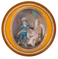 Decorative Arts, French:Other , FRENCH TORTOISESHELL BOX WITH HAND PAINTED MINIATURE . Early 19thcentury. 0-3/4 x 2-1/4 inches diameter (1.9 x 5.7 cm). ...