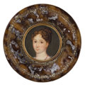 Decorative Arts, French:Other , FRENCH TORTOISESHELL AND BRASS BOX WITH PORTRAIT MINIATURE . Circa1800. 1 x 2-7/8 inches diameter (2.5 x 7.3 cm). ...