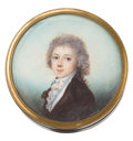 Decorative Arts, French:Other , FRENCH TORTOISESHELL AND BRASS BOX WITH PORTRAIT MINIATURE . Circa1800. 1 x 3 inches diameter (2.5 x 7.6 cm). ...