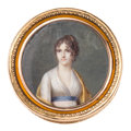 Decorative Arts, French:Other , FRENCH TORTOISESHELL AND GOLD BOX WITH PORTRAIT MINIATURE . Circa1798-1809. Marks: (standard), (guarantee), AT. 1 x 2-7...